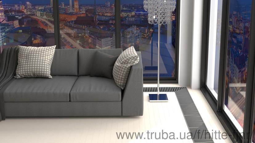 Внутрипольный конвектор Хитте для панорамного окна в квартире