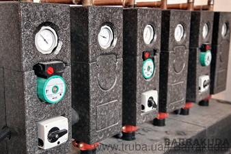 Система отопления дворцового типа на каскаде из двух топовых конденсационных котлов BUDERUS GB162 по 100 кВт (Германия) — Барракуда - Современные системы отопления