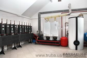 Система отопления на каскаде из двух топовых конденсационных котлов BUDERUS GB162 по 100 кВт (Германия), с погодозависимым управлением — Барракуда - Современные системы отопления