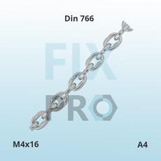 Цепь короткозвенная нержавеющая Din 766 A4