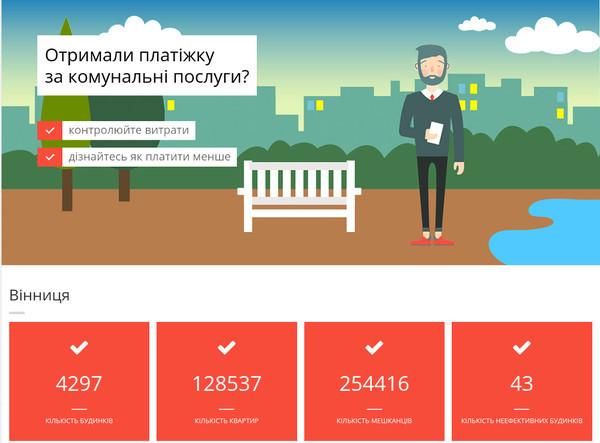 В Виннице запустили онлайн-сервис по контролю расходов на коммунальные платежи для многоквартирных домов