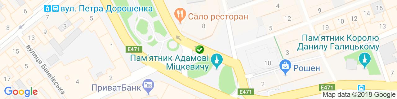 Карта об'єктів компанії Шафото