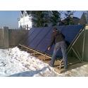 Пример монтажа солнечных коллекторов на земле.